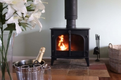 Wood is supplied for the wood burner